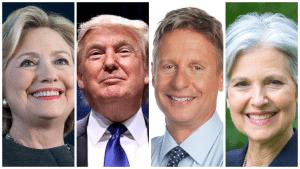 Clinton, Trump, Johnson, Stein
