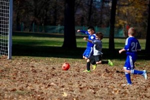 Oliver Sanders (in gray) takes a shot on goal against East Fishkill in a Philipstown Soccer Club game on Nov. 6. East Fishkill defeated the U8 Storm, 1-0. (Photo by Sheila Williams)
