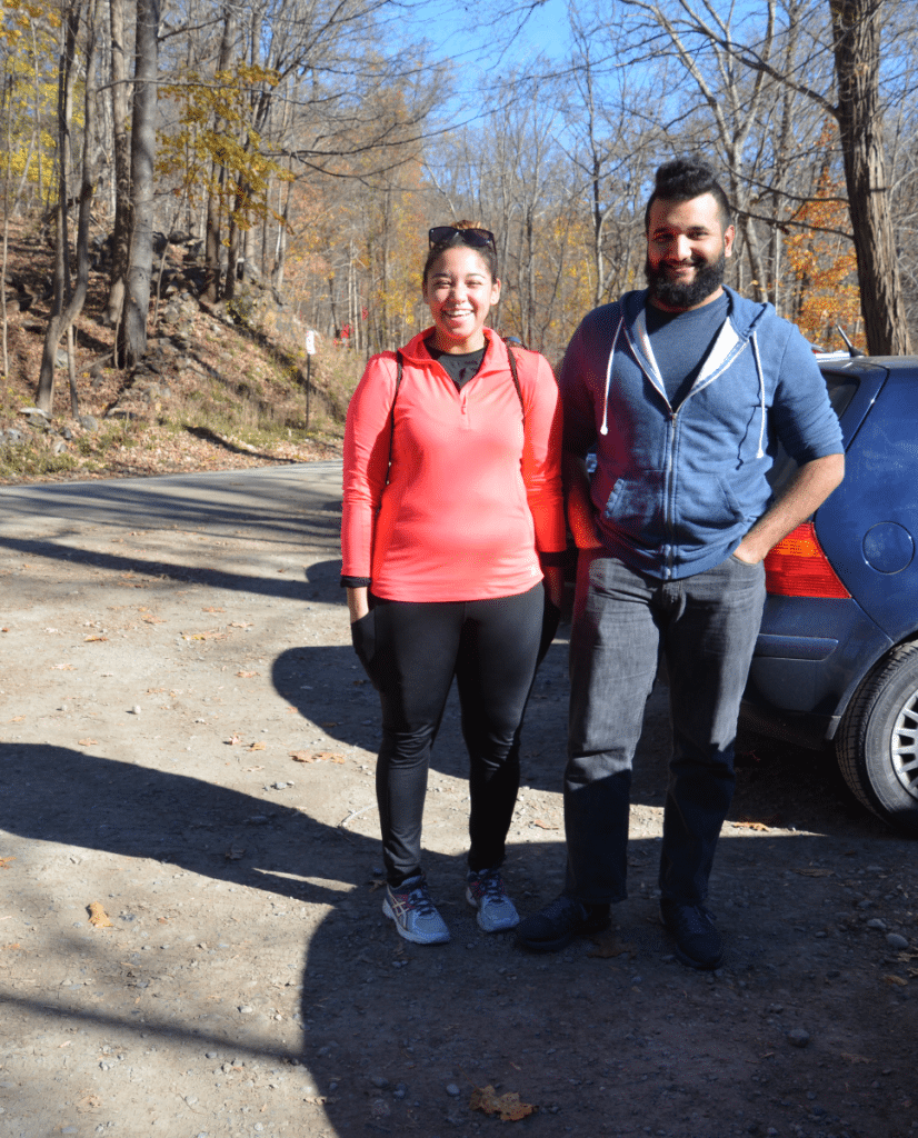 Mariah Nichols and Nick Mercado of Poughkeepsie found Breakneck too crowded on Nov. 13, so they decided to visit Indian Brook Falls, guided by social media. (Photo by L.S. Armstrong)
