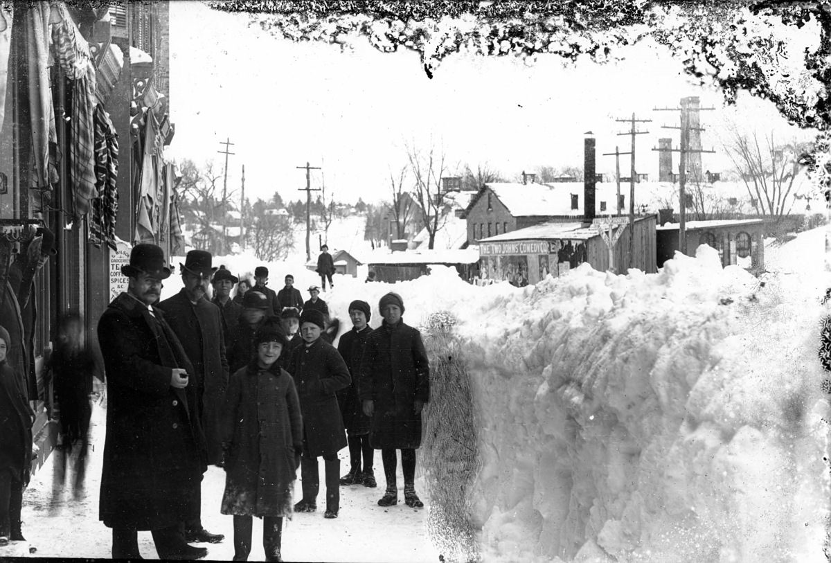 A street scene in nearby Beacon after the March 1888 blizzard (BHS)