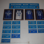 "The ""1,000 Point Club"" basketball banners hang on the wall at the Haldane gym, along with four retired jerseys. (Photo by Michael Turton)"