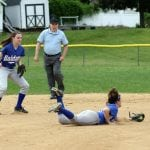 Shortstop Hannah Monteleone snags a line drive in a playoff win over Solomon Schechter on May 22. (Photo by Scott Warren)
