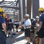 Firefighters and instructors from West Point and Newburgh prepare to rappel off the Newburgh-Beacon Bridge in 2011 as part of training to create a Rope Rescue Division within the Orange County Technical Rescue Team.  (West Point photo)