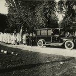 A funeral procession for a Klan member at Cold Spring Cemetery in the 1920s (New York Public Library)