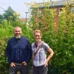 One Nature's Bryan Quinn and Blair Patterson in the firm's pop-up park on the corner of Main and Cross Streets in Beacon. (Photo by B. Cronin)