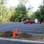 Except for landscaping, the state has completed upgrades to the 47-space Washburn parking lot, across from Little Stony Point Park. (Photo by M. Turton)