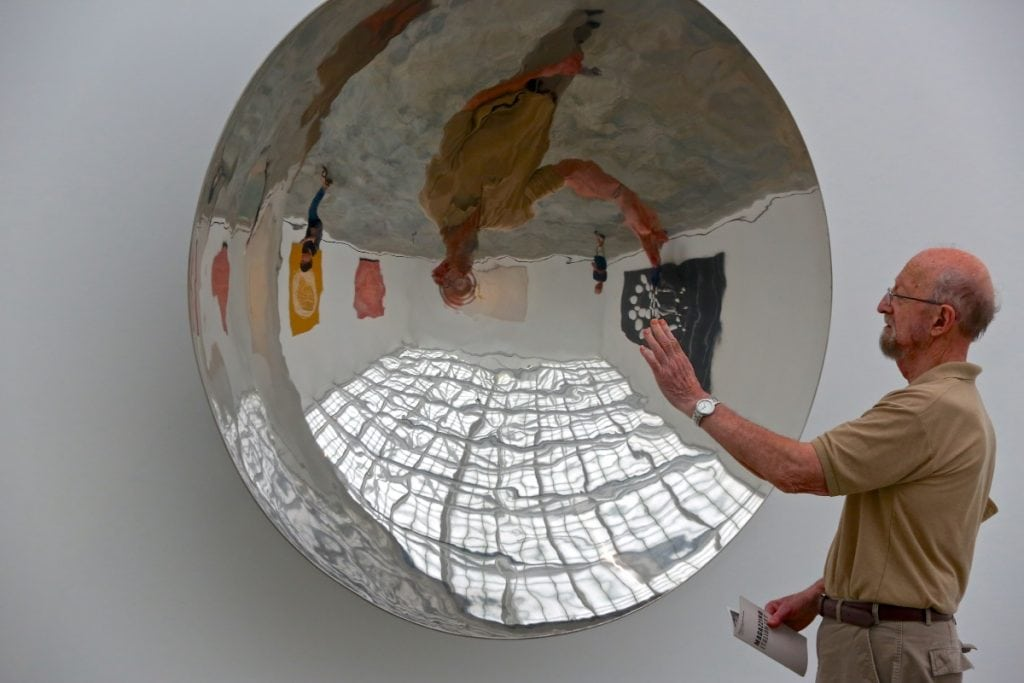 A visitor at Magazzino Italian Art
