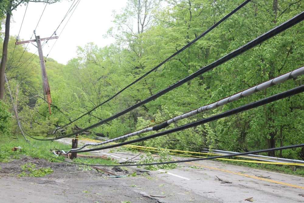 Downed lines and trees on Rte 403