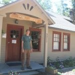 Evan Thompson is shown outside the new park office at Little Stony Point.(Photo by M. Turton)