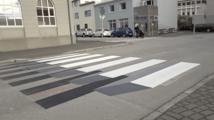 3-D crosswalk in Iceland flat