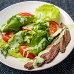 Sam-Inspired Dressing over salad with tenderloin (Photo by Henry Weed)