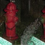 Before and after shots of a Cold Spring hydrant being flushed (Photo provided)