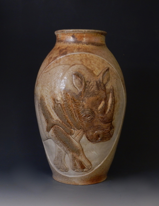 African White Rhino vase