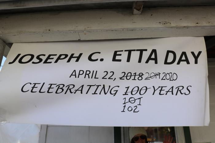 Joe Etta's Birthday Sign