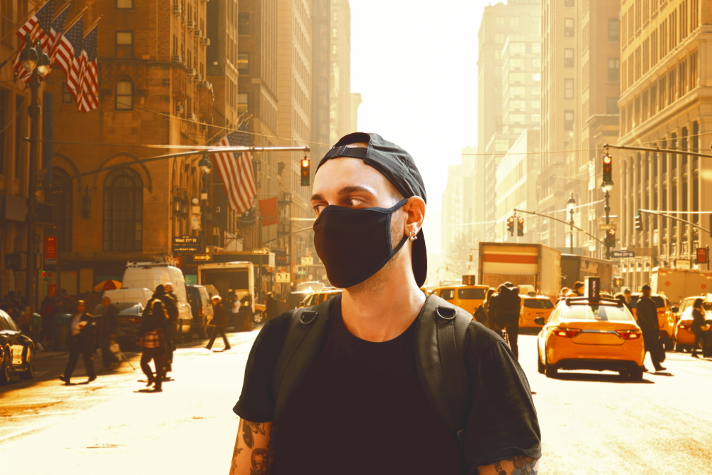 young man surgical mask