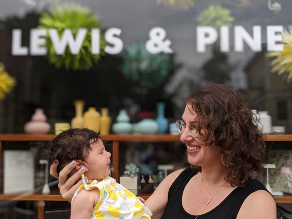 Yali Lewis with her daughter, Liora, outside Lewis & Pine