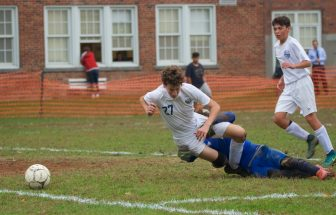 Frank Bentkowski (27), Haldane's leading scorer, was tackled by the Hamilton keeper in a game last year, leading to a penalty kick.