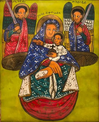"""""""Madonna and Child with Two Angels"""" by an unknown Ethiopian artist"""