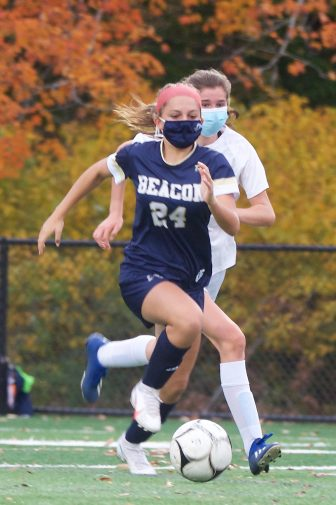 Eighth-grader Reilly Landisi (24) scored her first two varsity goals for the Bulldogs against Peekskill.