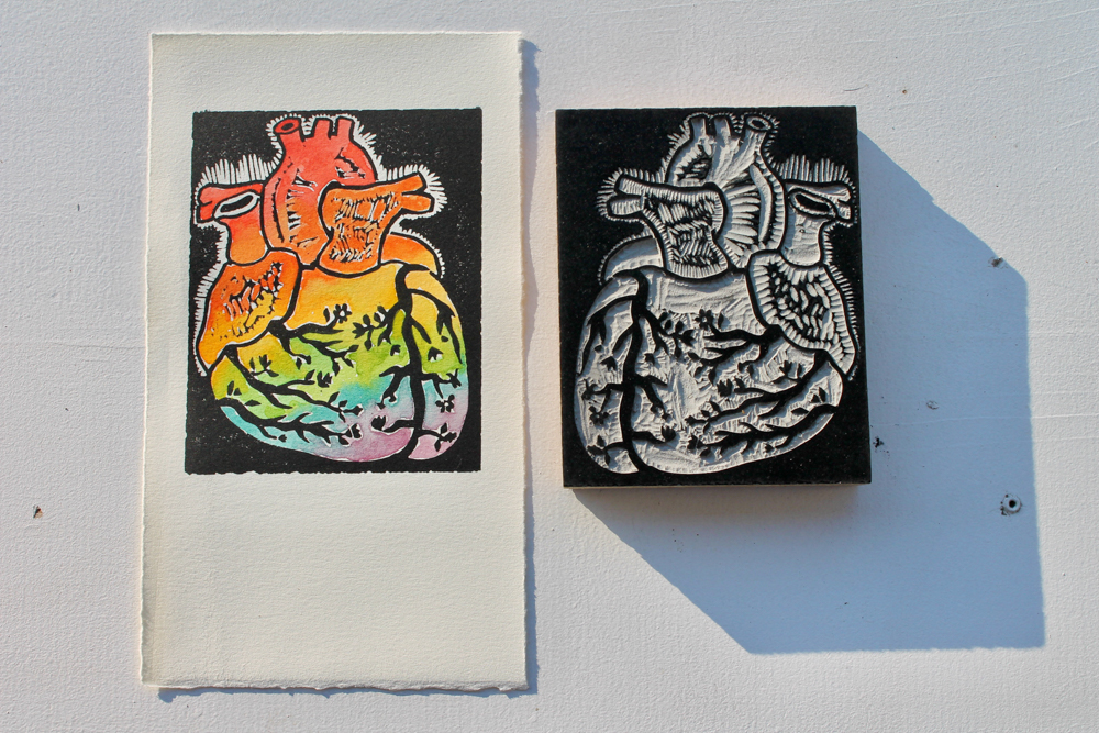 Linoleum print with block