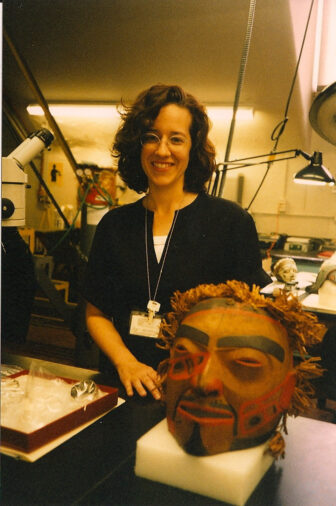 Milroy with a Northwest Coast mask