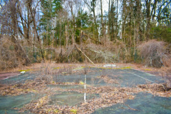 Ruined tennis court