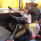 Catching up on the news before a discussion with mom