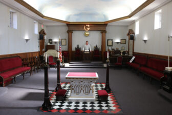 Needham inside the Masonic lodge