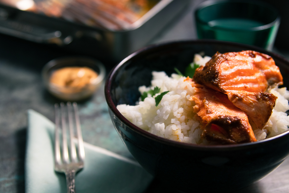 Salmon with Harissa-Yogurt Sauce