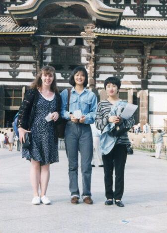 Hadden (left) with fellow teachers, Todaiji Temple, Nara, 1994