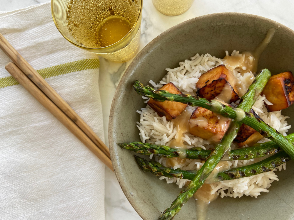 Miso Tofu with Grilled Asparagus