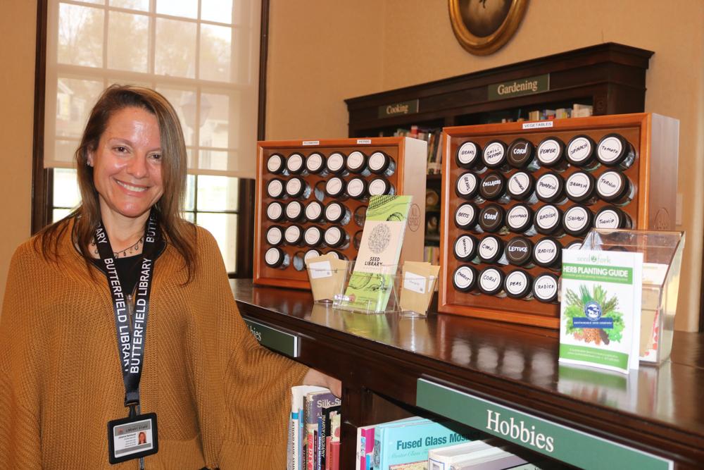 Johanna Reinhardt with the seed library