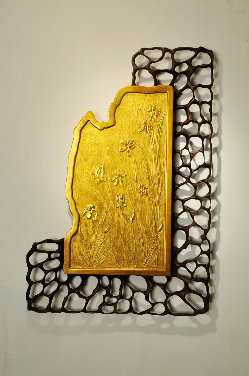 Gold Leaf Panel and Walnut Frame