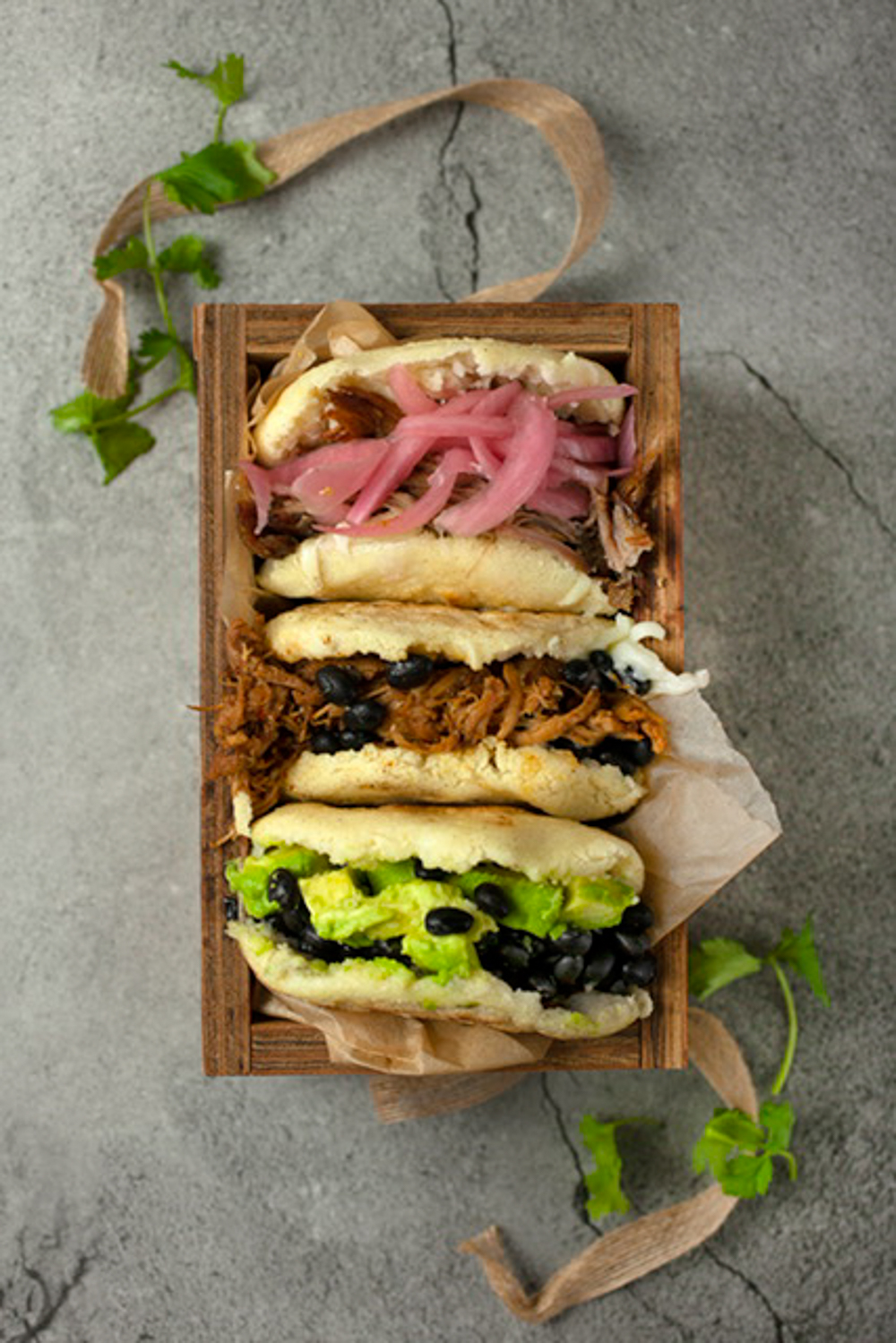 A selection of arepas