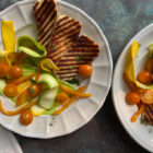 Tangle of Squash Ribbons, Peppers, and Tomatoes with Grilled Halloumi