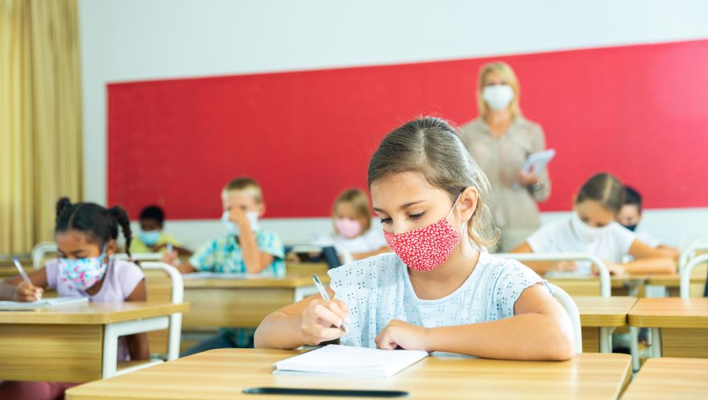 children masked at school