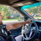 Officer Silverio Santiago drives through Beacon on patrol.