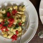 Pasta with Corn, Goat Cheese, Lemon and Fresh Herbs