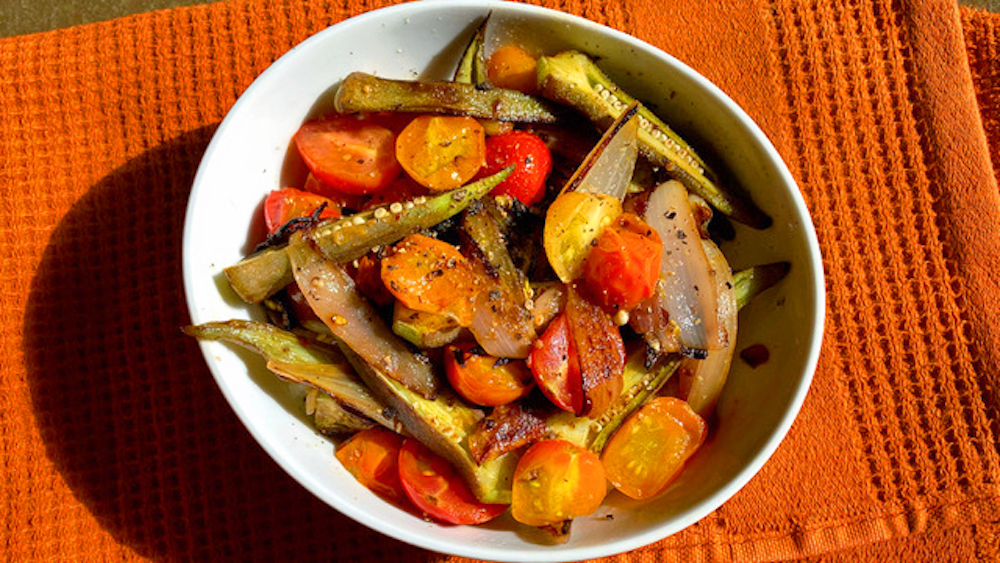 Okra with Shallots and Cherry Tomatoes