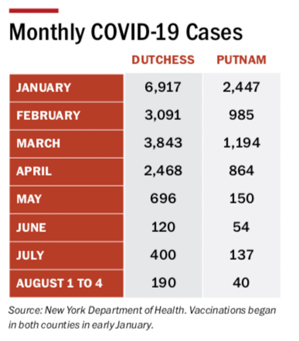 Monthly covid cases