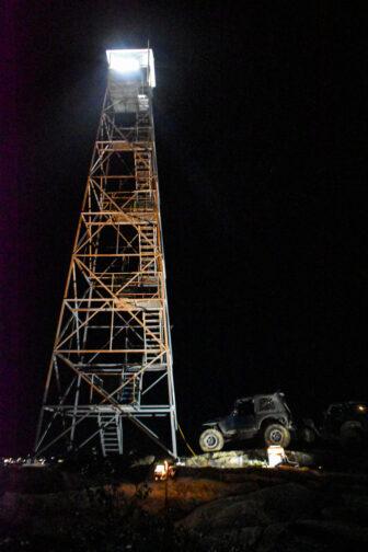 The Beacon Fire Tower, illuminated