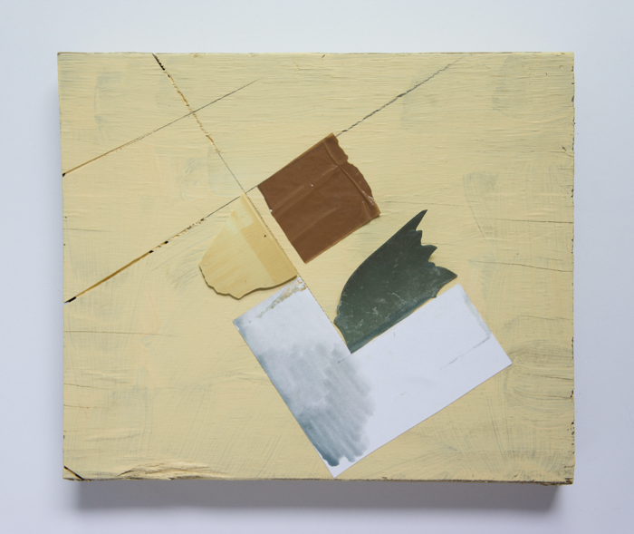 Loxton, Untitled (Wing of Marvis) 2021, acrylic, plastic, paper collage and ceramic with tape on wood